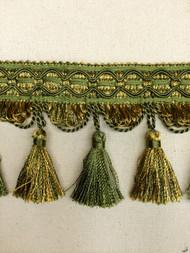"""4"""" TASSEL FRINGE-9/17-11          LODEN GREEN & GOLD"""