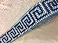 Cream, Navy, Colonial & Lt. Blue 3.75 Inch Woven Suede Embroidery Trim Tape  H-17922