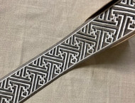 "2 5/8"" Gray & Creamy White embroidery Trim Tape H-8225-2 High Quality Embroidery / Upholstery / Drapery"