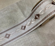"3 1/4"" Silver & Taupe embroidery trim Tape H-9009-2 Upholstery / Drapery / Curtains / WIndow Treatment"