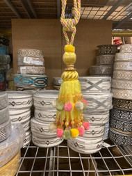 "13"" Yellow Multi Pom Pom & Beaded Single Tassel Tieback With Rope Cord High Quality SCTB-21/10"