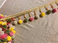 "4"" Yellow Multi Beaded Pom Pom Tassel Fringe Trim TF-77/10"