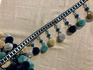 "4"" Navy, Turquoise, Tan & Steel Gray Pom Pom Tassel Fringe Trim TF-77/46"
