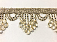 "4.25"" Cream Crystal Beaded Fringe Trim TF-78/2"