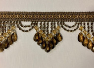"4.25"" Brown & Gold Crystal Beaded Fringe Trim TF-78/8-12"