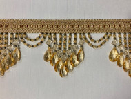 "4.25"" Light Gold Crystal BEaded Fringe TRim TF-78/12-2"