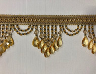 "4.25"" Dark Gold Crystal Beaded Fringe Trim TF-78/12-17"