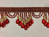 "4.25"" Gold & Cranberry Crystal Beaded Fringe Trim TF-78/12-33"