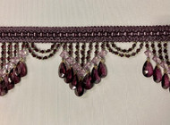 "4.25"" Purple & Lilac Crystal Beaded Fringe Trim TF-78/29-27"