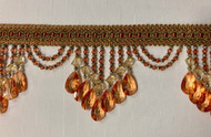 "4.25"" Rust, Gold & Green Crystal Beaded Fringe Trim TF-78/35-12-17"