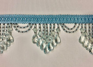 "4.25"" Light Blue Crystal Beaded Fringe Trim TF-78/38"