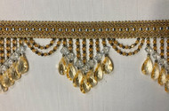 "4.25"" Silver Blue & Gold Crystal Beaded Fringe Trim TF-78/40-3-12"