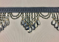 "4.25"" French Blue Crystal Beaded Fringe Trim TF-78/41"