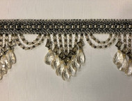 "4.25"" Silver & Gray Crystal Beaded Fringe Trim TF-78/50-37-47"