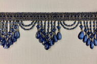 "4.25"" Navy & Blue Crystal Beaded Fringe Trim TF-78/46 Upholstery / Drapery"