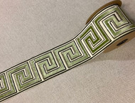 Cream & Green Combination 3.75 Inch Woven Suede Embroidery Trim Tape H-17921