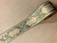 "3.5"" Turquoise, Champagne & Cream Silk French Embroidered Trim Tape H-179209"