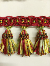 "4"" TASSEL FRINGE -16/31-17-11     DARK RED, LODEN GREEN & GOLD"