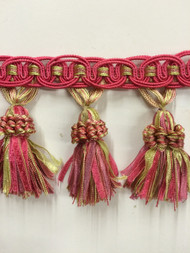 "4"" TASSEL FRINGE -16/20-13-25        HOT PINK.MINT & MAUVE      THIS ITEM IS SOLD BY CUT YARDAGE ONLY"