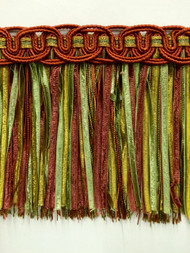 "4.5"" TASSEL FRINGE -17/35-12-17     RUSRT,ANTIQUE GOLD & LODEN GREEN"