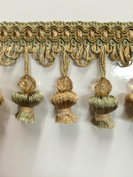 "3"" ONION TASSEL FRINGE -20/13-3                MINT GREEN & BEIGE"