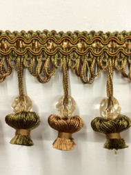 "3""TASSEL FRINGE -20/17-7          LODEN GREEN & LIGHT BROWN"
