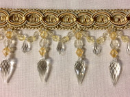 "4""  CRYSTAL BEADED  TASSEL FRINGE-32/40-3-12 SILVER BLUE & Light GOLD"