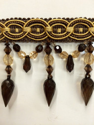 "4"" CRYSTAL BEADED TASSEL FRINGE-32/8-12        BROWN & ANTIQUE GOLD"