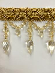 """4"""" CRYSTAL BEADED  TASSEL FRINGE-32/12      ANTIQUE GOLD"""