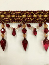 "4"" CRYSTAL BEADED TASSEL FRINGE-32/12-33      ANTIQUE GOLD & BURGUNDY"