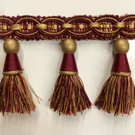 "4"" TASSEL FRINGE -36/12-33       ANTIQUE GOLD & BURGUNDY"