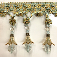 "4"" TASSEL FRINGE -37/39-12        AQUA BLUE & ANTIQUE GOLD"