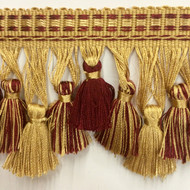 "3.5"" TASSEL FRINGE -42/12-33          ANTIQUE GOLD & BURGUNDY"