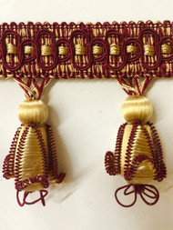 "3"" TASSEL FRINGE -43/12-33      ANTIQUE GOLD & BURGUNDY"