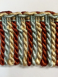 "2.5"" BULLION FRINGE-1/40-35-3        light BLUE,RUST & BEIGE"