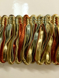 "2"" LOOP RIBBON FRINGE-1/40-35-3       SILVER BLUE,RUST & BEIGE"