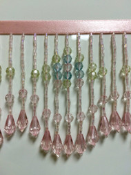 "3.75"" CRYSTAL BEADED FRINGE-22/18-53       PINK, LIGHT BLUE & CLEAR"