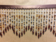 "5"" CRYSTAL BEADED FRINGE CBF-38/8 BROWN  MULTI"