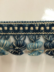 "2"" COTTON TASSEL FRINGE -19/2-46-44       CREAM,NAVY BLUE & TURQUOISE BLUE"