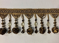 "4.5"" POM POM CRYSTAL TASSEL FRINGE -45/8-12    BROWN & ANTIQUE GOLD"