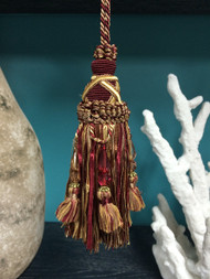 "6"" KEY TASSEL-18/32-12-3        CRANBERRY,GOLD & BEIGE"