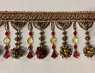 "4.5"" POM POM CRYSTAL TASSEL FRINGE  -45/33-12-40     BURGUNDY,ANTIQUE GOLD & GREEN"