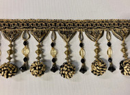 "4.5"" POM POM CRYSTAL TASSEL FRINGE-45/47-12      BLACK & ANTIQUE GOLD"
