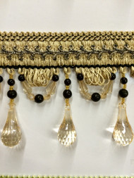 "4"" BEADED TASSEL FRINGE -46/3-47    VANILLA  & BLACK"