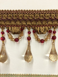 "4"" BEADED TASSEL FRINGE -46/7-33      LIGHT BROWN & BURGUNDY"