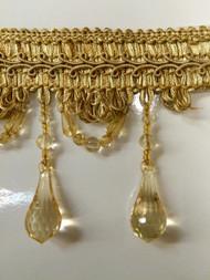 """4"""" BEADED TASSEL FRINGE -46/12    ANTIQUE GOLD"""