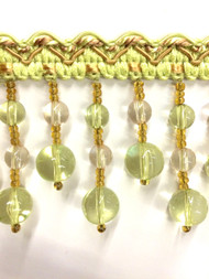 "2.5"" CRYSTAL BEADED  TASSEL FRINGE -49/13-1-12     MINT GREEN,CLEAR & GOLD"