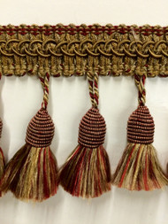 "3"" TASSEL FRINGE -53/7-33             LIGHT BROWN & BURGUNDY"