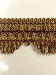 "1.75"" GIMP HEADER -58/7-33         LIGHT BROWN & BURGUNDY"