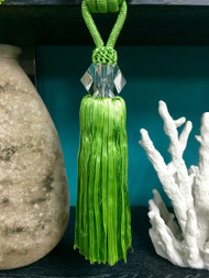 "12"" CRYSTAL TASSEL CURTAIN TIEBACK-18/14       GRASS GREEN"